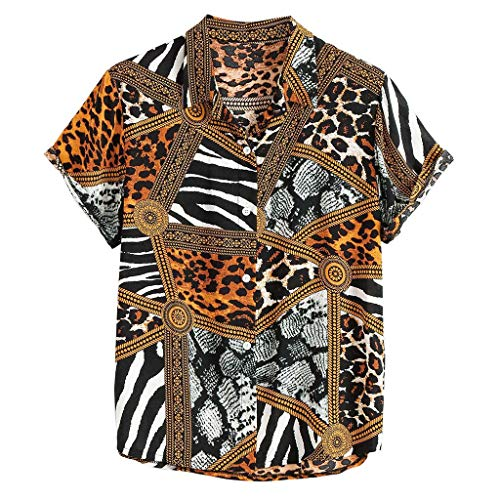Shirt Top Surfboard Longboard Hawaiian Shirt Summer Fashion Lapel Panel Striped Leopard Print Short Sleeve Men (L,1- Yellow) -