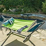 Aspen Outdoor Light Green Water Resistant Hammock with Grey Larch Wood Frame by Christopher Knight Home