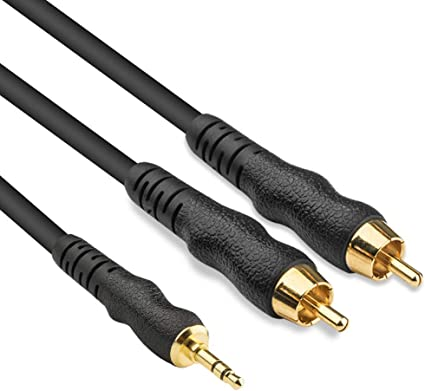 "6/'ft 3.5mm 1//8/"" Stereo Mini Plug Male to 2 RCA Male Stereo Audio Cable Adapter 6"