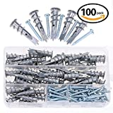Hilitchi 100pcs Premium Quality Zinc Self-Drilling Drywall Anchor with...