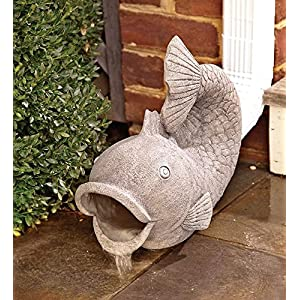 Wind & Weather RG6204 Friendly Fish Downspout Cover Extension Yard and Garden Sculpture Decoration, 15 L x 6.75 W Grey
