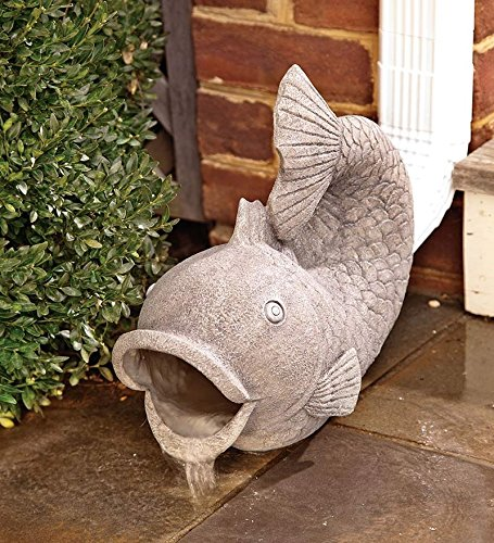 Wind & Weather RG6204 Friendly Fish Downspout Cover Extension Yard and Garden Sculpture Decoration, 15 L x 6.75 W, Grey