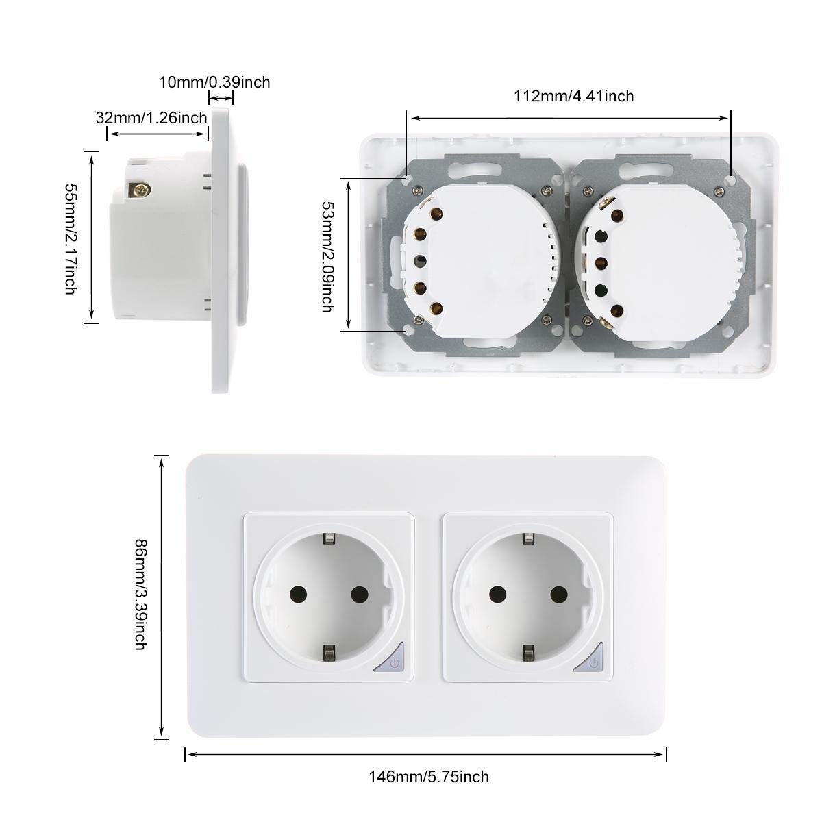 Compatible con Alexa Echo No Requiere Smart Plug 2pack Marco magn/ético Smart Life Schuko Enchufe Temporizador con Control Remoto Google Home y IFTTT TEEKAR Enchufe Pared Inteligente WiFi Alexa