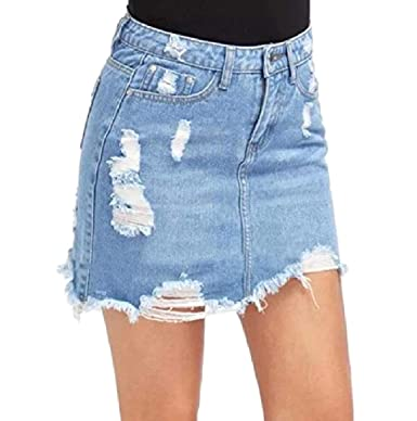 7fea234f1b Ziaesm Women Destroyed Empire Waist Premium Tassel Denim Washed Skirt Light  Blue XL