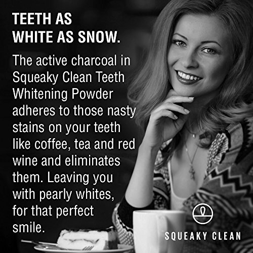Squeaky Clean Activated Charcoal Teeth Whitening Tooth and Gum Powder. A Safe All Natural Toothpaste Whitener Alternative.