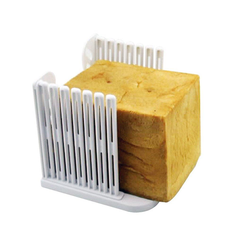 Da.Wa Bread Slicer Resin Foldable and Adjustable Bread Toast Slicer Bagel Slicer Loaf Sandwich Bread Slicer Toast Slice Cutter Mold (White)