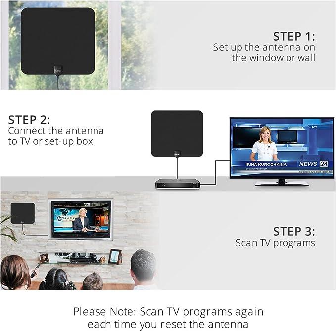 Antena de TV, Pictek Amplificador Antena Interior HDTV - 56KM gama de recepción, 3m cable alto rendimiento, Amplificador de Señal Removible – Negra