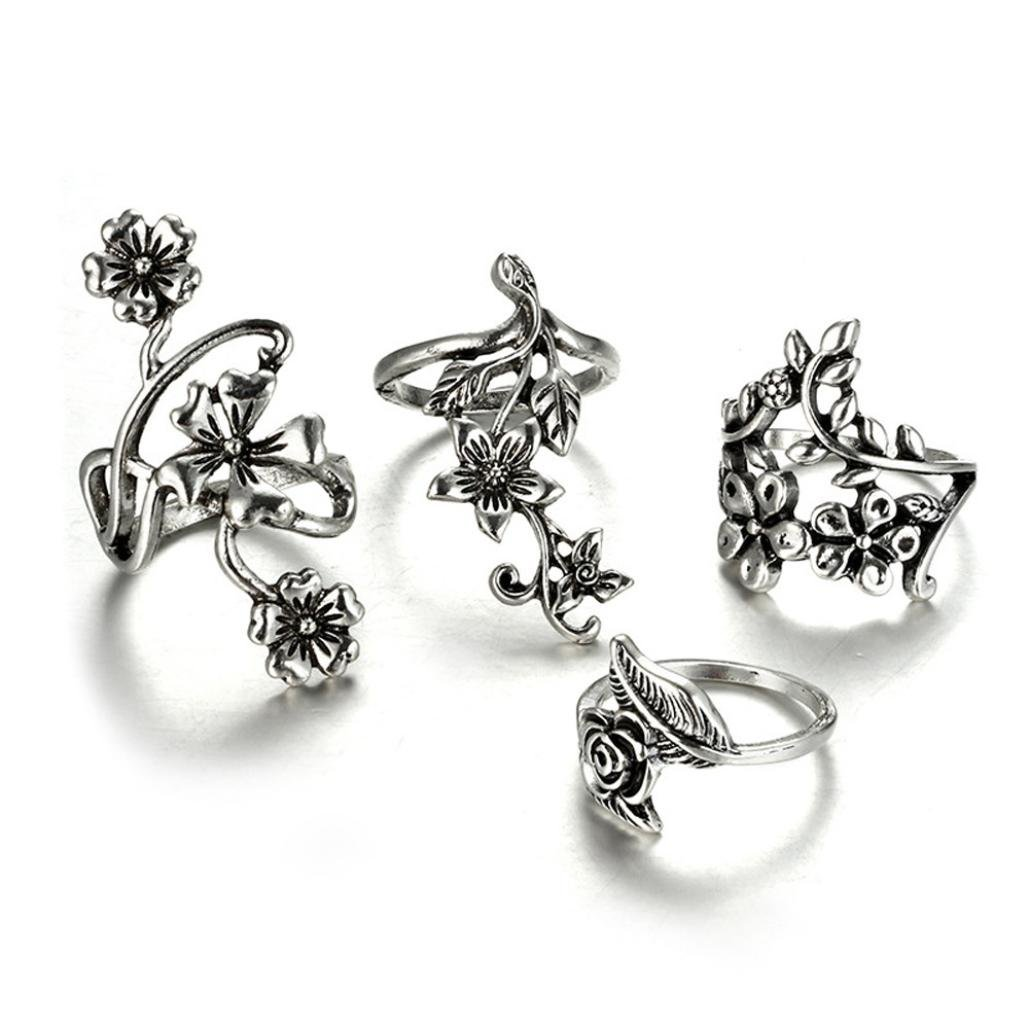 Joopee Flower Wraps Around Rings, 7pcs/Set Women Bohemian Vintage Silver Stack Rings Above Knuckle Blue Rings Set (Silver, one size)