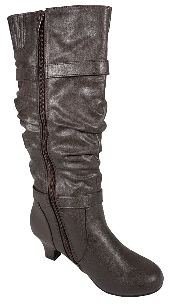 Lustacious Kids Girly Slouchy Knee High Strap Buckles Low Heel Boots with Side Zipper Dark Grey Leatherette 11 T