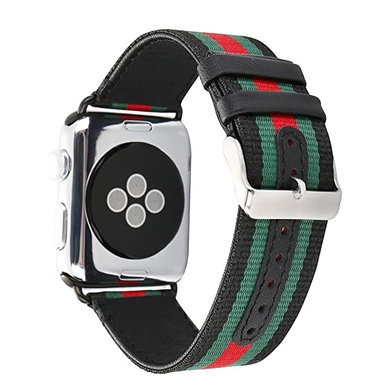 0b9aa8fef7b Hontao for Apple Watch Band Woven Nylon with Genuine Leather Sport Stylish  iWatch Replacement Strap with