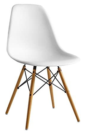 joolihome eiffel dining chair plastic wood retro white modern rh amazon co uk Modern White Lacquer Furniture Modern White Kitchen Living Room