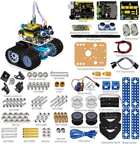 Price comparison product image Keyestudio Bluetooth Mini Tank Robot Smart Car Kit Aluminum Frame for Arduino