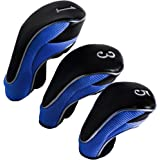 Andux Golf Driver Wood Head Covers 460cc Driver Hook&Loop Long Neck Pack of 3