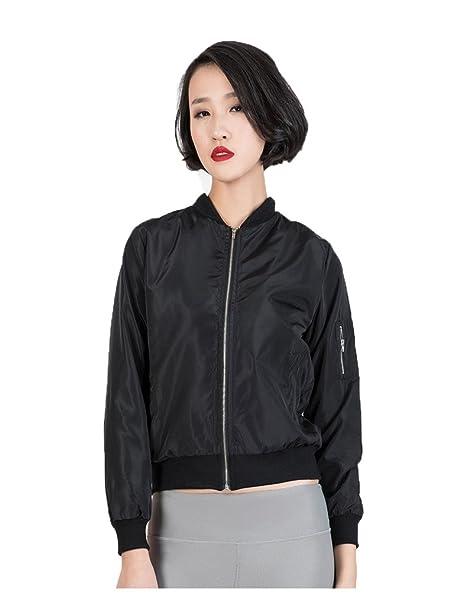 5ebb6661470ba CHARLES RICHARDS CR Women s Zipper Detail Long Sleeve Plain Bomber Jacket  at Amazon Women s Coats Shop