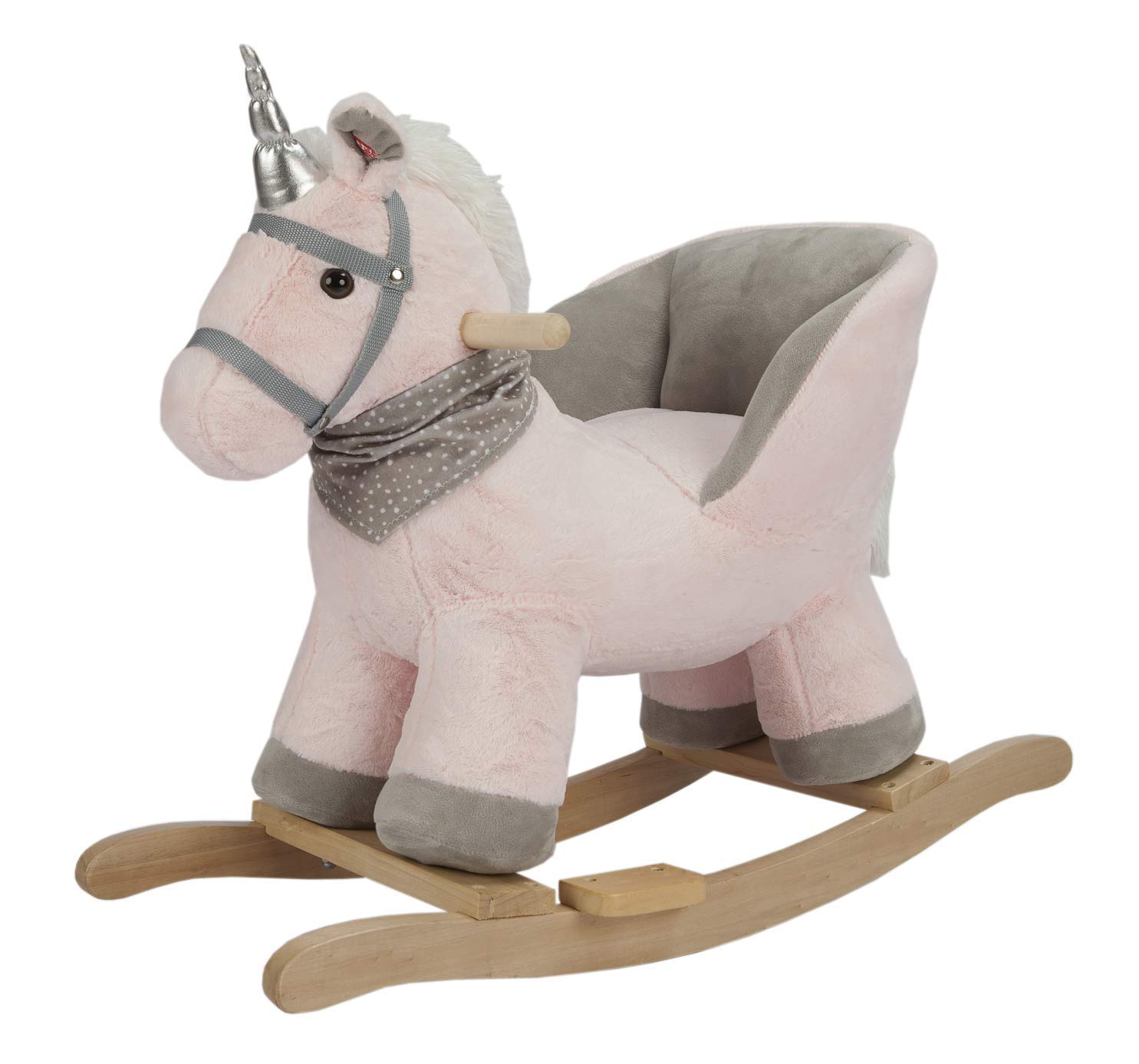 ROCK MY BABY Pink Unicorn with Chair,Plush Stuffed Rocking Animals,Wooden Rocking Toy Horse/Baby Rocker/Animal Ride on,Home Decor,for Girls and Boys,(Pink Unicorn)