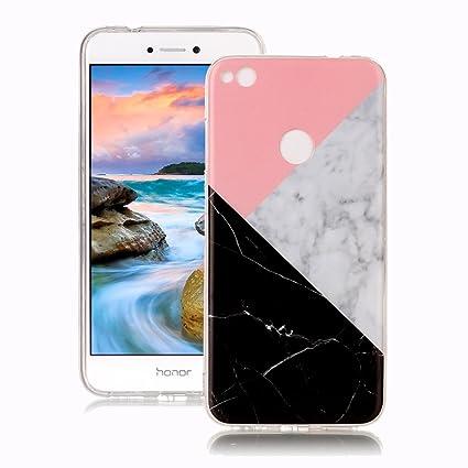 Funda Huawei P8 Lite 2017 Mármol, Yunbaozi Diseño Mármol Carcasa Suave Goma Silicona Soft Marble Case Textura de Piedra Natural Funda Liso Flexible ...