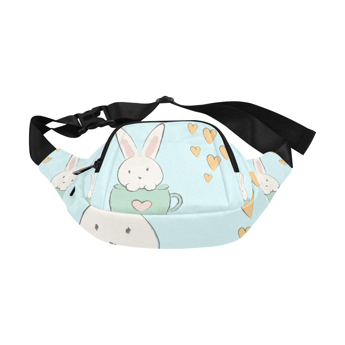 Cute Hand Drawn Bunnies In A Cup Fenny Packs Waist Bags Adjustable Belt Waterproof Nylon Travel Running Sport Vacation Party For Men Women Boys Girls Kids