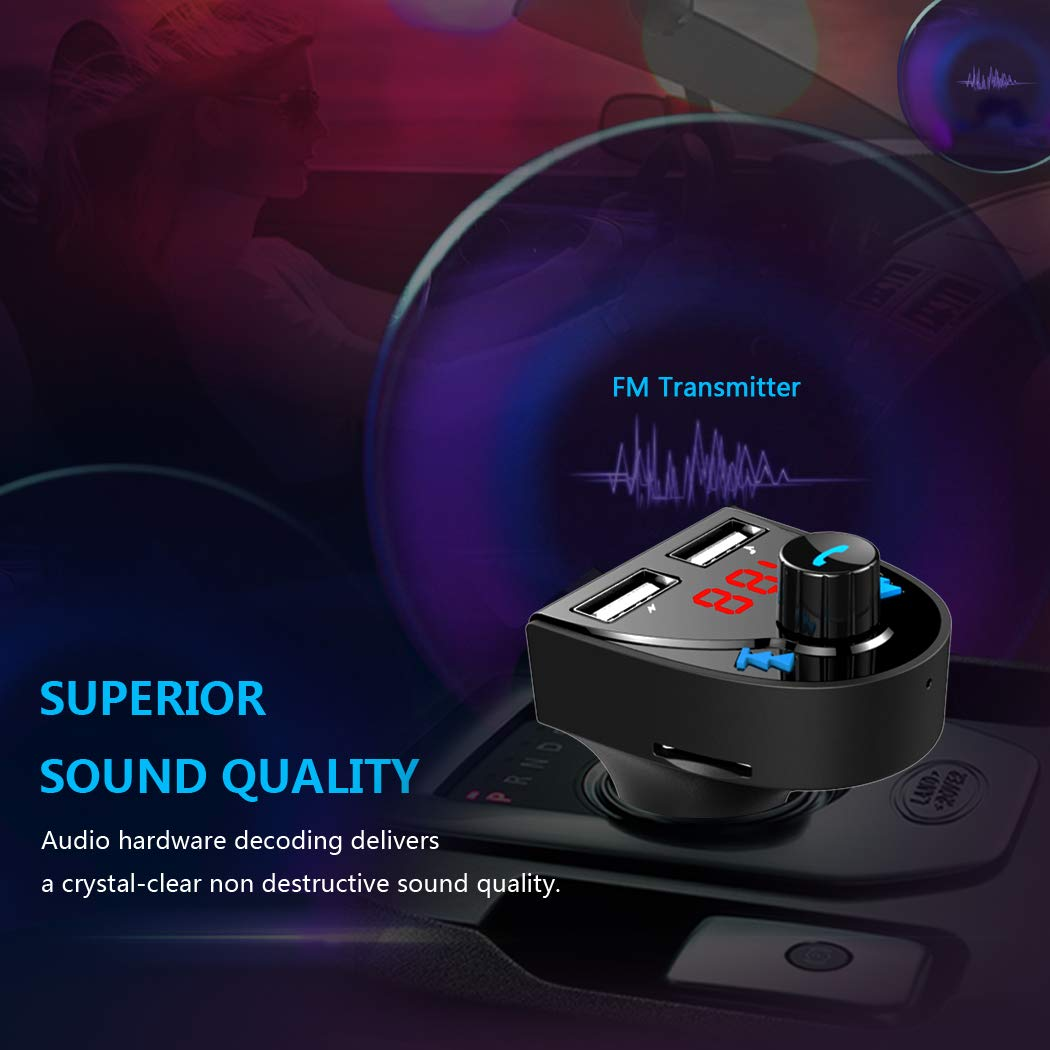 Transmisor FM Bluetooth Coche Manos Libres Blufree Reproductor de MP3 Transmitter Adaptador con 5V//3.1A Cargador USB Carga R/ápida para iPhone Samsung y m/ás Smartphones Pantalla LED Tarjeta TF