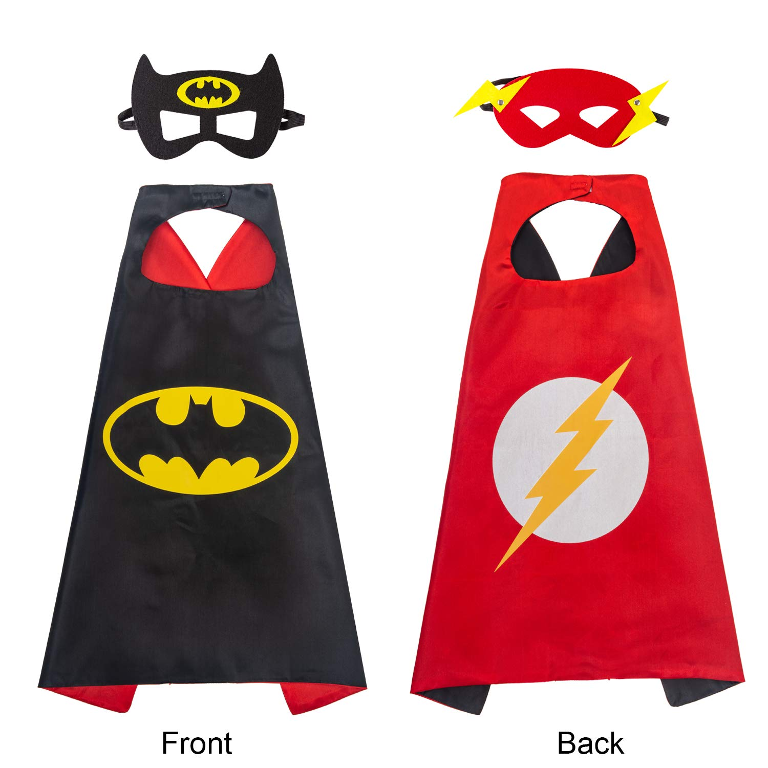 YOHEER Superhero Dress Up Costume Set, Double-Sided Satin Capes with Felt Masks for Kids, One Set Plays Double Roles.