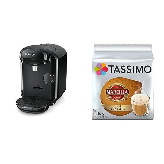 Bosch TAS1402 Tassimo Vivy 2 (color negro) + Pack café 5 paquetes (80 cápsulas) Tassimo Marcilla Café con Leche