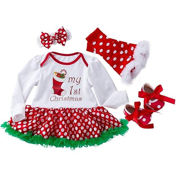 Ropa Bebe Niña Navidad Tefamore 4pcs / Conjunto Impresión ...