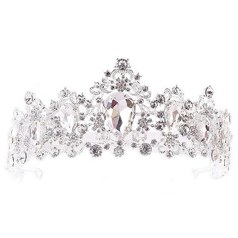 Perle Kristall Tiara Strass Haarschmuck Krone Hochzeit Braut Stirnban FT