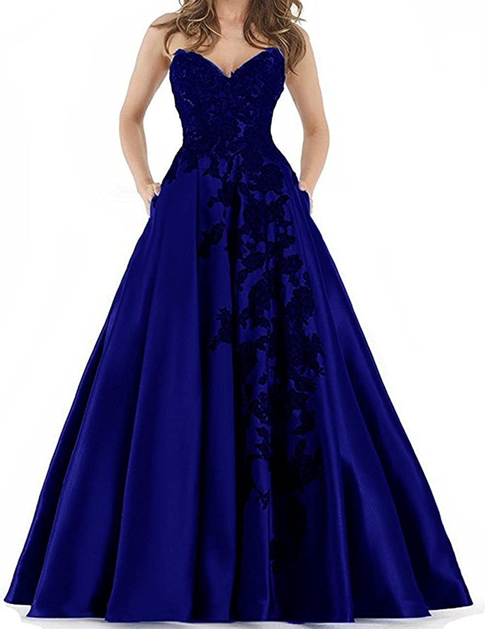 Dark Royal bluee YNQNFS Sweetheart lace Applique Prom Dresses with Pockets Long Satin Evening Party Ball
