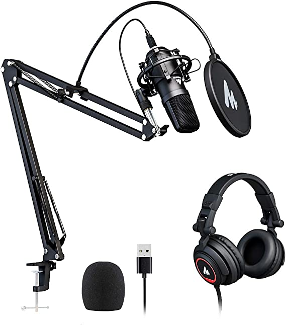 USB Microphone with Studio Headphone Set 192kHz/24 bit MAONO A04H Vocal Condenser Cardioid Podcast Mic for Mac and Windows