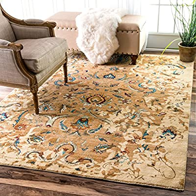 "nuLOOM Sebrina Floral Persian Accent Rug, 2' 7"" x 4', Beige - Origin: Turkey Weave: machine made Material: 100% polypropylene Frisee - living-room-soft-furnishings, living-room, area-rugs - 61mqW tjhcL. SS400  -"