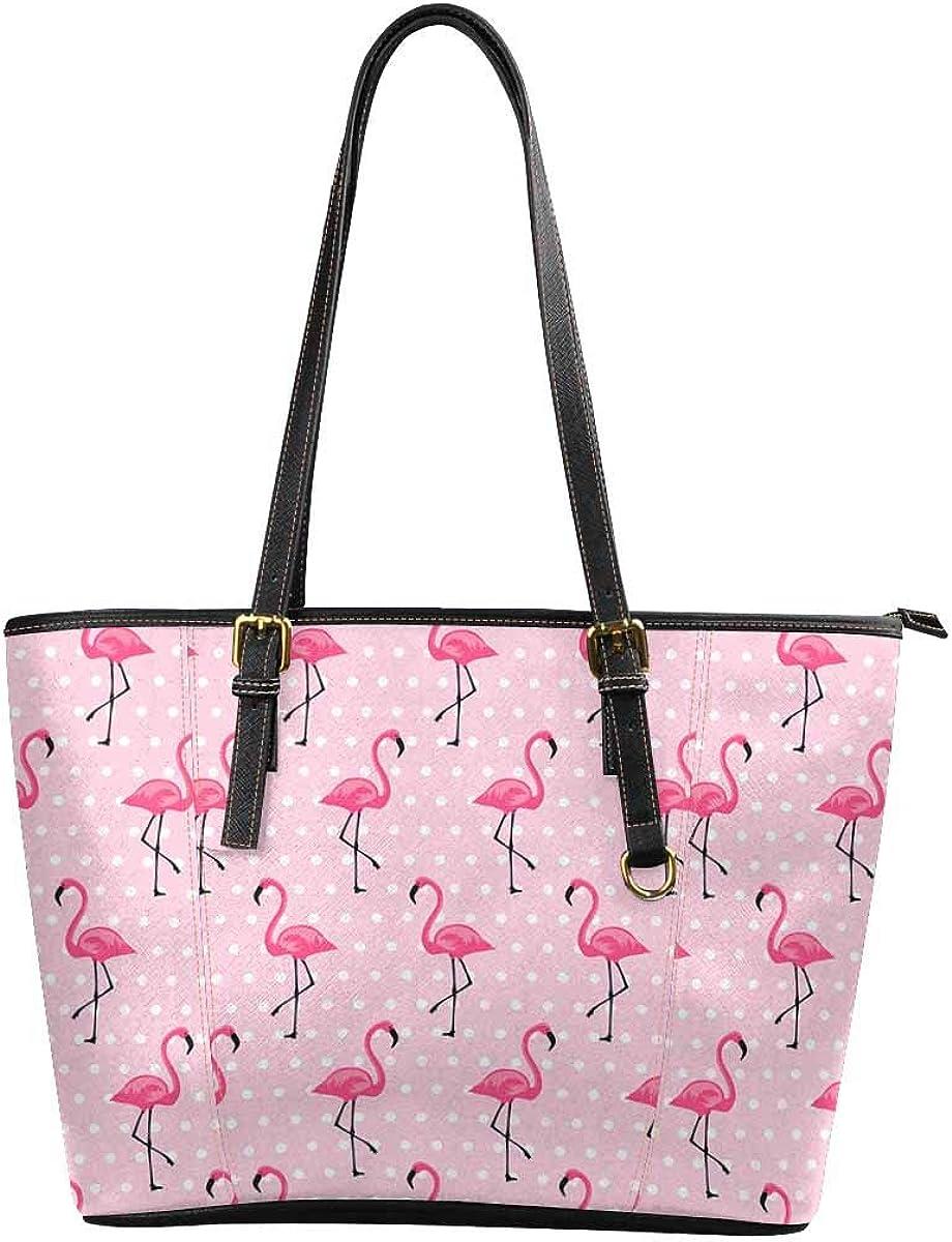 Womens Leather Handbags Shoulder Tote Top Handles Bag Purse for School Travel Pink Flamingo