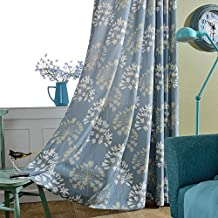 VOGOL Thermal Insulated Blackout Window Room Grommet Curtain Drapes for Bedroom and Living Room, Set of 2 Panels, W52 x L84 inch,White Vintage Floral Patten in Blue