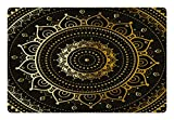 Lunarable Mandala Pet Mat for Food and Water, Tribal Figure Ancient Spiritual Harmony Symbolic Art Illustration, Rectangle Non-Slip Rubber Mat for Dogs and Cats, Taupe Earth Yellow Beige