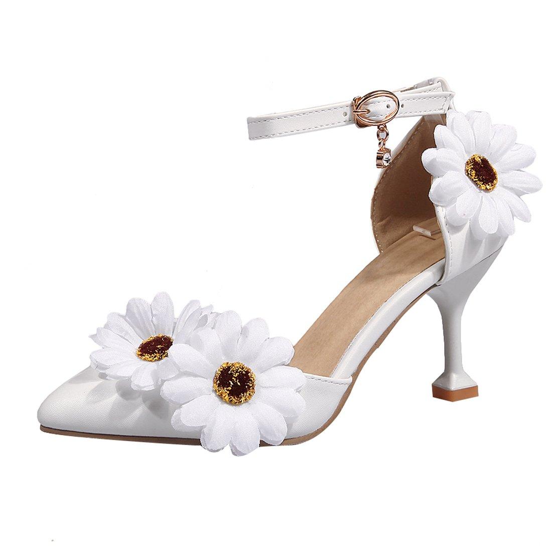 UH Femmes UH Stiletto Talons Hauts Pointues Orteil Pointues Strap Chaussures Avec des Fleurs à la Mode des Chaussures de Mariée Blanc 1c98123 - epictionpvp.space