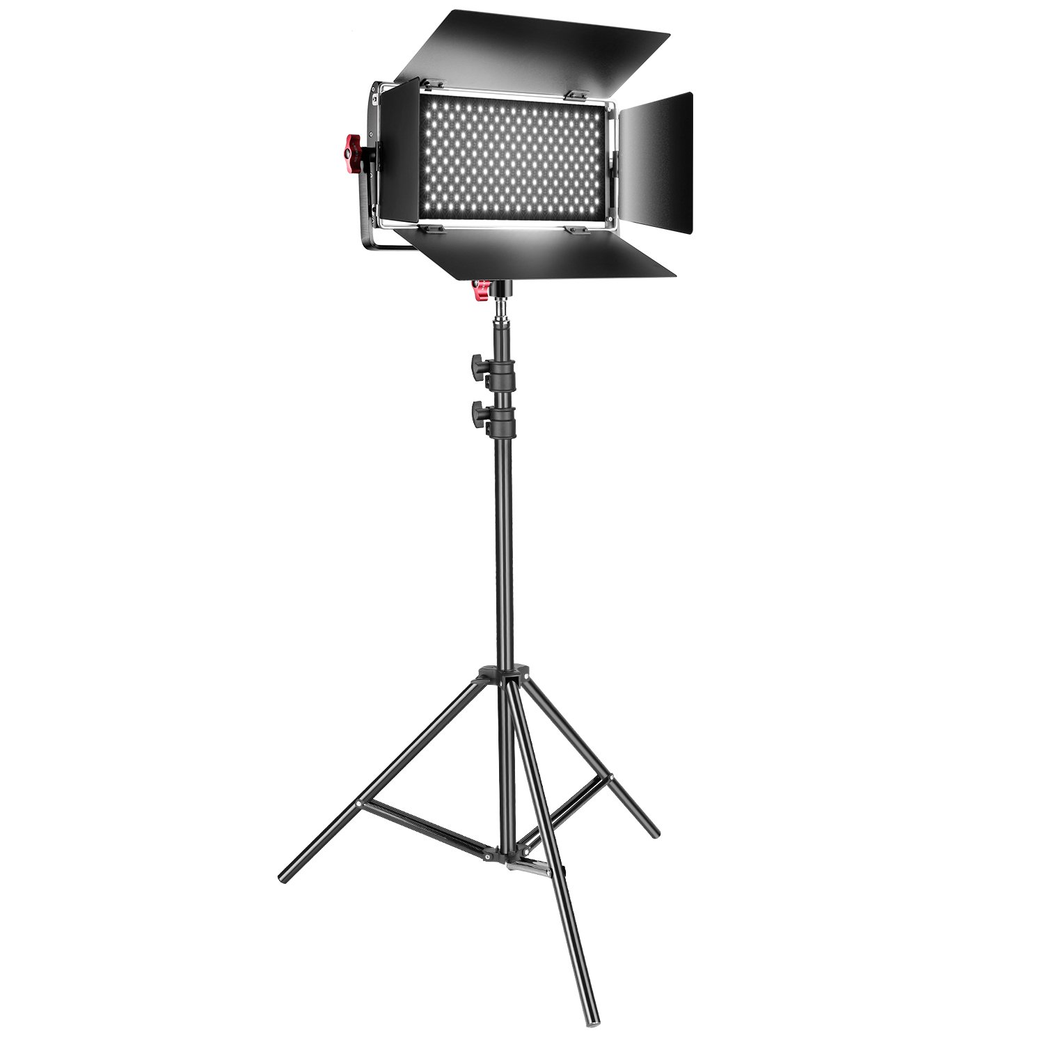 Neewer Dimmable Bi-color SMD LED Video Light and Stand Lighting Kit: 384 Pieces LED Panel with U Bracket and Barndoor, 3200-5600K,CRI 95+,and 78-inch Light Stand for YouTube Photography Video Shooting 90091324@@##1