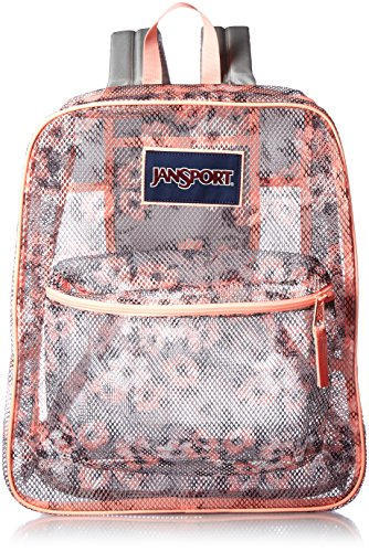 JANSPORT Unisex Mesh Pack Coral Sparkle Pretty Posey Back...