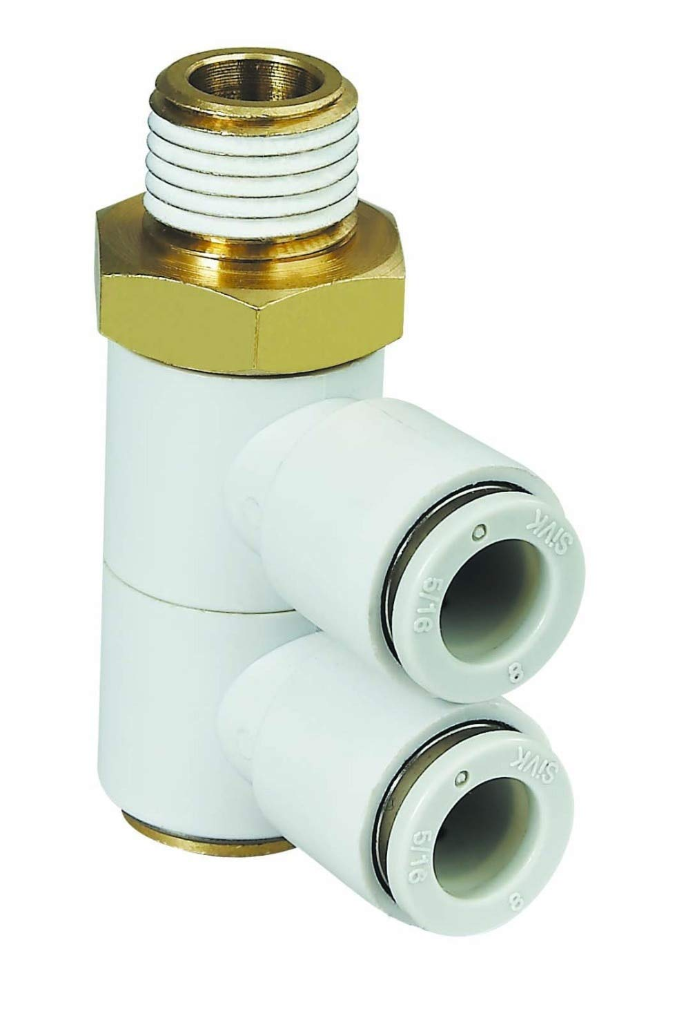 Fevas ping Single End Brass Male Pneumatic Fittings Components Part with Two Units Way for PU Hose/Nylon Hose Components Part