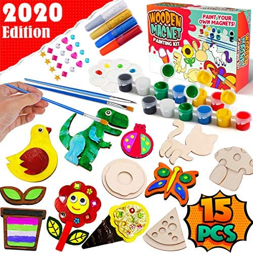GoodyKing Arts and Crafts Supplies for Kids - Painting Creativity Art Craft Kit Decorate Your Own Wooden Magnet Kids for Age 3 4 5 6 Year Old DIY Birthday Gift Family Activity Project Birthday Present