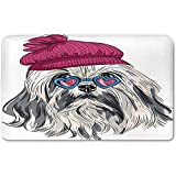 Memory Foam Bath Mat,Indie,Lion Bichon Lowchen Breed Cute Dog with Heart Shaped Glasses and French Hat Print DecorativePlush Wanderlust Bathroom Decor Mat Rug Carpet with Anti-Slip Backing,Grey Pink