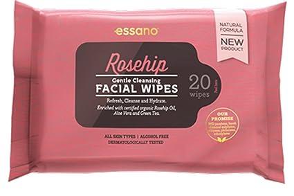 Rosehip by Essano Toallitas faciales limpiadoras suaves 20 Pack
