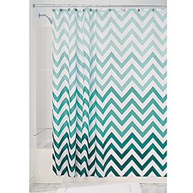 InterDesign Ombre Chevron Soft Fabric Shower Curtain, 72  x 72 , Mint/Multicolor
