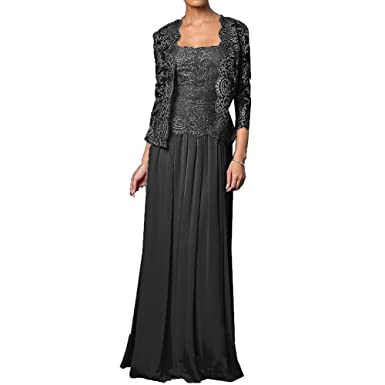 6ef6860733 Chiffon Lace 2 Pieces Mother Of The Bride Long Formal Gowns Dress With  Jacket Black US2