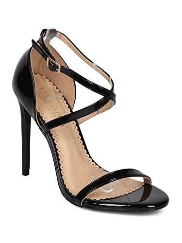 a2d85a21295 Women Open Toe Single Sole Criss Cross Stiletto Sandal HC84 - Black Patent  (Size