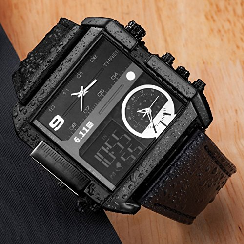 Top Plaza Men's Black Square Digital Electronic Genuine Leather Band 3ATM Waterproof LCD Sport Watch Casual Business Quartz Military Multifunction Back Light by Top Plaza (Image #2)