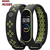 injoy Bands for Xiaomi Mi Band 4, Newest Sports Durable TPU Silicone Replacement Wristband Anti-Off Waterproof Bracelet Strap for Xiaomi Mi Band 4 black&green(brand:mijobs)