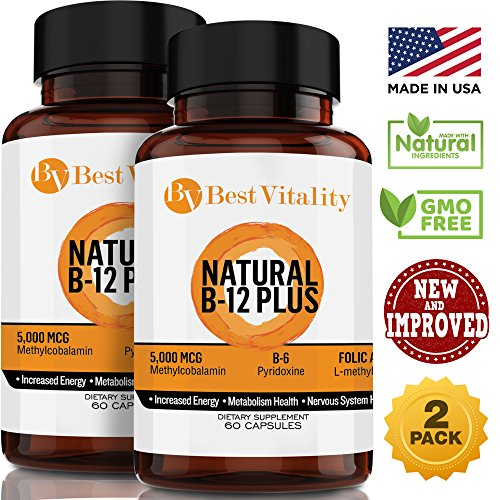 BestVitality - Vegan Safe All Natural Vitamin B Complex Dietary Supplement – 2 Bottles Of Natural Vitamin B With B12, B6 & Folic Acid - Boosts Energy Levels & Metabolism – 60 Fast-Absorbing Capsules