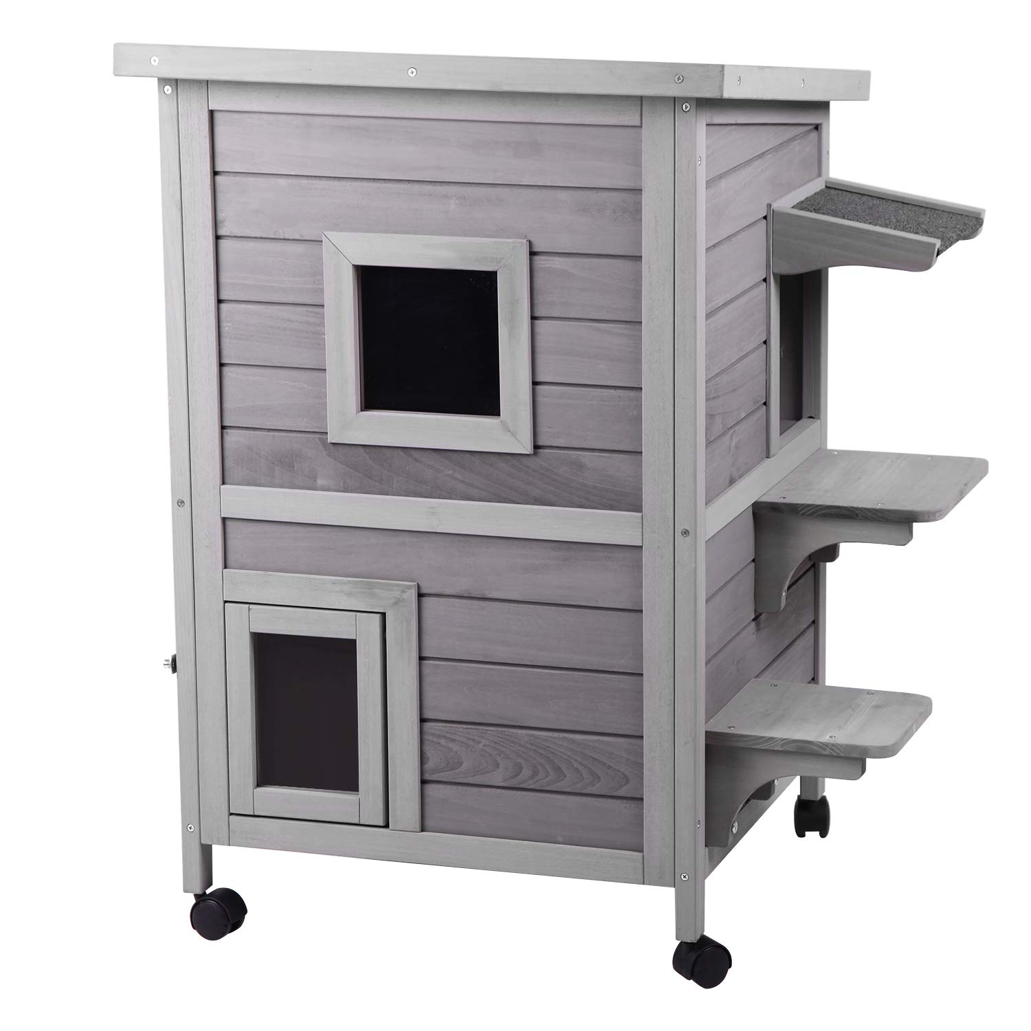 Aivituvin 2-Story Outdoor Cat House Indoor Wooden Kitty Condo with Escape Door - 4 Casters Included by Aivituvin