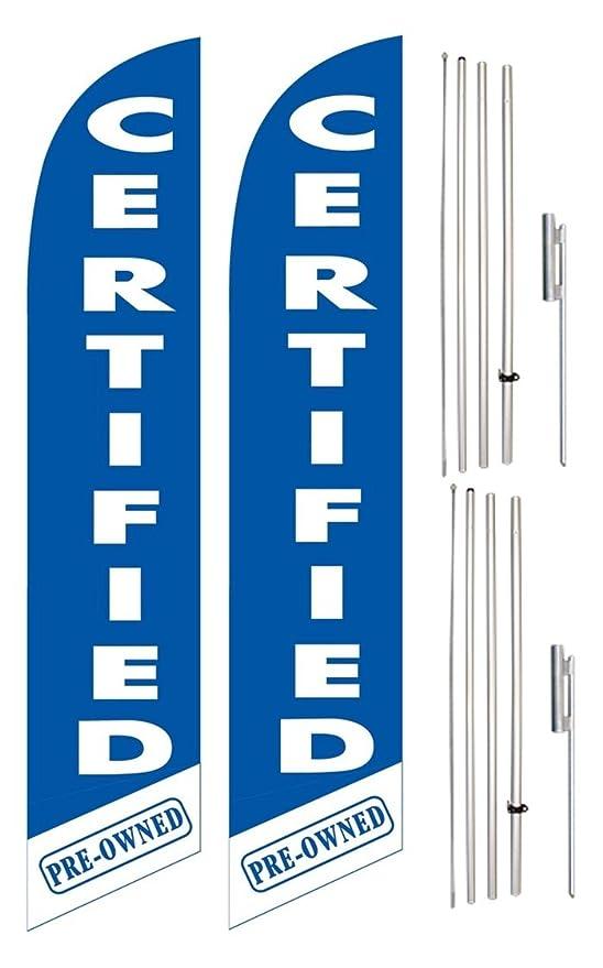 Viento Swooper bandera y poste Kit Twin Pack Certificado Azul ...