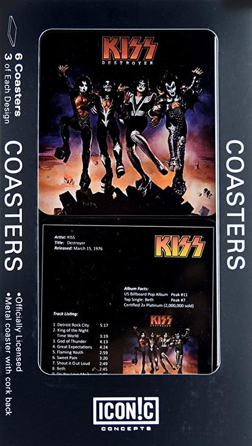 Coaster Set 8 x 5in Destroyer 6 Pc KISS