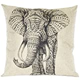 Decorative Pillow Cover - Cute Grey Elephant Cotton Linen Decorative Throw Pillow Case Cushion Cover 18