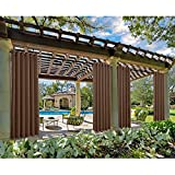 Macochico 120Wx 96L Extra Wide Outdoor Waterproof Curtains Panels Privacy Protection Thermal Insulated Sun Block for Bedroom Living Room Patio Garden Backyard Chocolate (1 Panel)